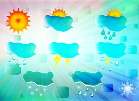 High quality icon set relating to weather, vector illustration Stock Vector - 11234762