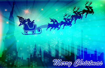 Santa in his sleigh with his reindeer flying above New York  Vector