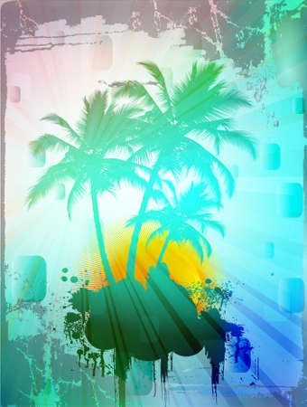 Palm trees in abstract background with grunge borders, vector illustration Vector
