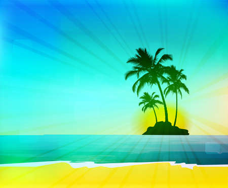 Tropical background with palm trees on island Illustration