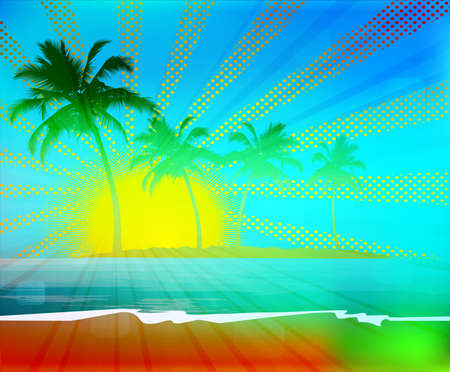 Tropical background with palm trees on island Vector