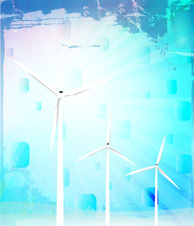 Windmill in abstract background, vector illustration Vector