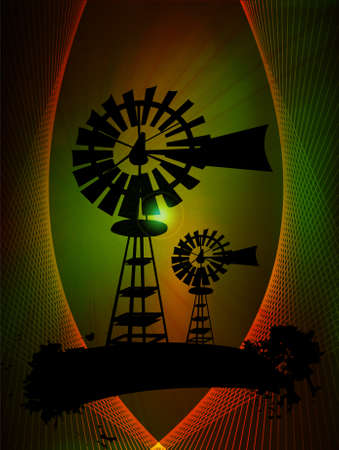 Windmill turbines in abstract background, vector illustration Vector