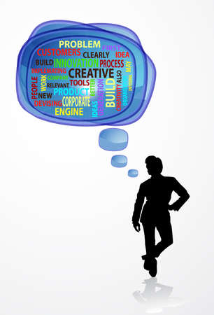 spech bubble: Word cloud concept illustration of innovation creative in blue speech bubble with people, vector illustration