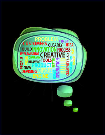 spech bubble: Word cloud concept illustration of innovation creative in speech bubble, vector illustration