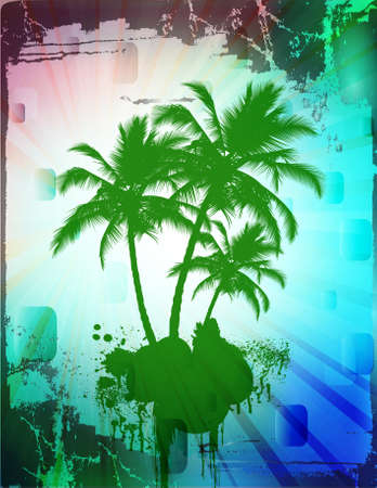 coconut leaf: Palm trees in abstract background with grunge borders Stock Photo