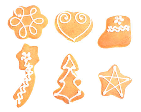 Gingerbread cookies in white background photo