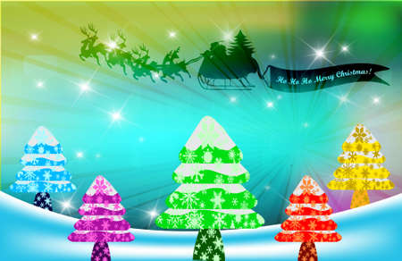 Christmas background with Santa Clause and Chistmas trees, vector illustration Stock Vector - 11234787