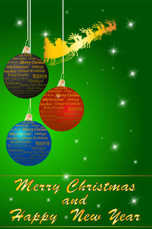 Christmas background with balls and Santa Clause, vector illustration Vector