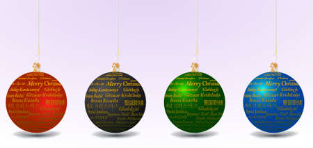 Christmas ball set with Merry Christmas text in thirty-one language in gray background, vector illustration Vector