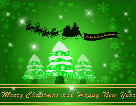 Christmas background with tree and flying Santa clause, vector illustration Vector