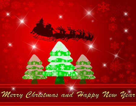 Christmas background with tree and flying Santa clause, vector illustration Stock Vector - 11422113