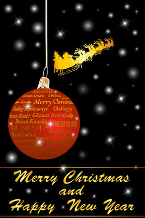 Red Christmas ball with Merry christmas text in thirty-one language, vector illustration Vector