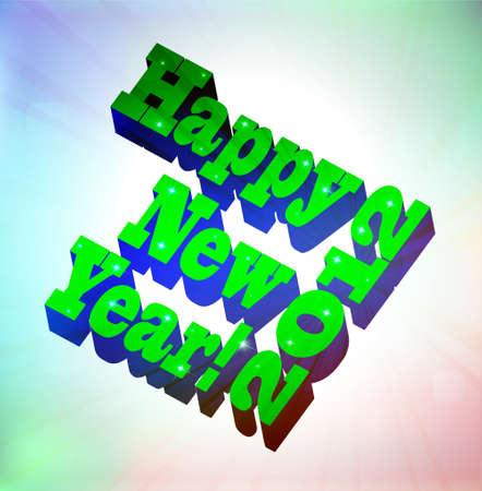 3D Happy New Year, vector illustration Vector