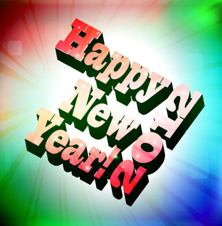 3D Happy New Year, vector illustration Stock Vector - 11674753