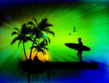 tabla de surf: Fondo tropical con el surfista, ilustración vectorial Vectores