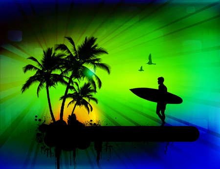 surfer silhouette: Tropical background with surfer, vector illustration