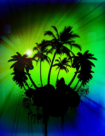 palmetto: Palm trees in abstract background, vector illustration