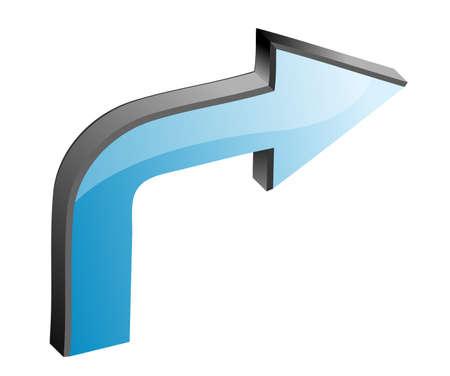 downwards: Blue 3D arrow, illustration (part of full set)