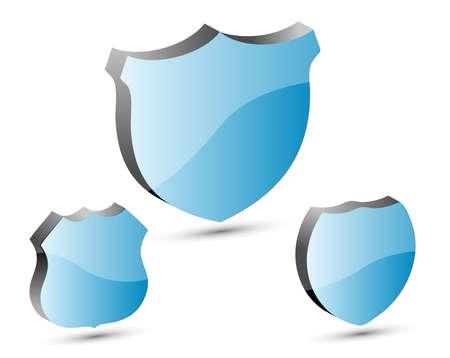 shield set: 3D blue shield set, illustration  Illustration