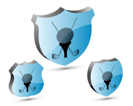 3D golf shield set. Vector