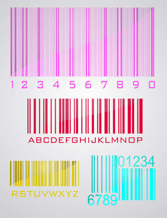 Bar code set in gray background. Vector
