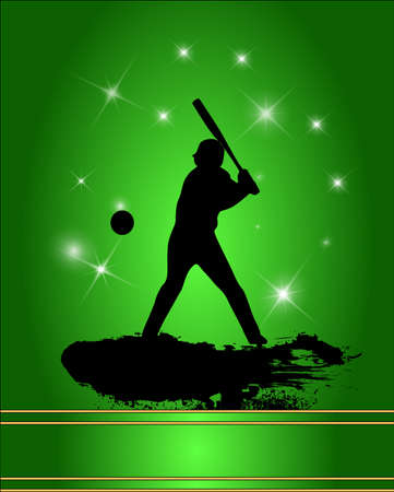baseball catcher: Baseball player silhouette in green background. Illustration