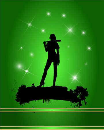 Baseball player silhouette in green background. Illustration