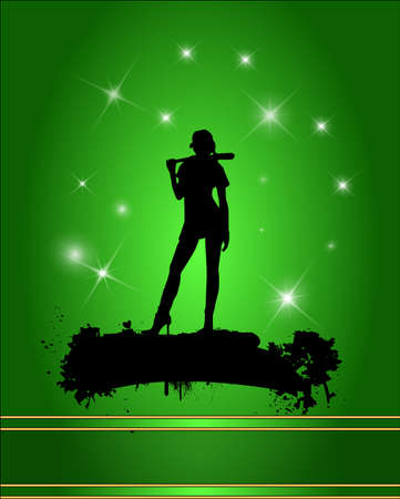 Baseball player silhouette in green background. Illustration
