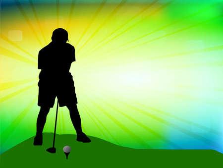 Golfer on field illustration Vector
