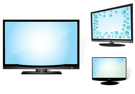 tft: LCD TV set on white background, illustration  Illustration