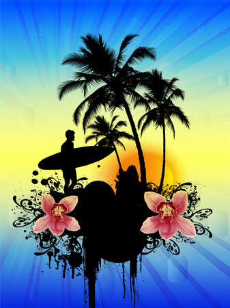 surfer silhouette: Tropical background with surfer. Illustration