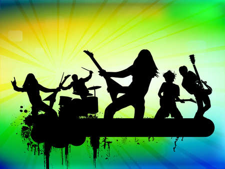 pop singer: Rock band illustration