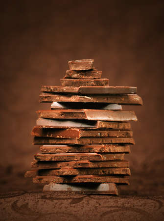 chocolate block: Cocolate in beautiful brown background Stock Photo