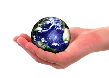 Earth globe in human hands, environment concept photo