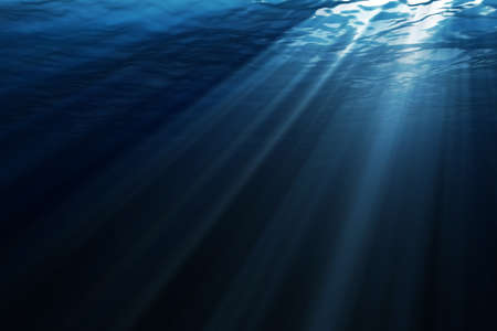 Underwater scene with ray of lights