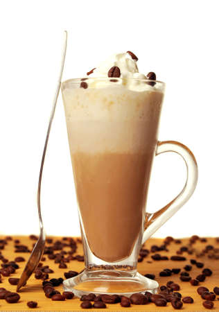 Frappe with coffee beans in white photo