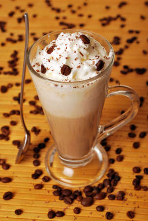 late summer: Frappe with coffee beans Stock Photo
