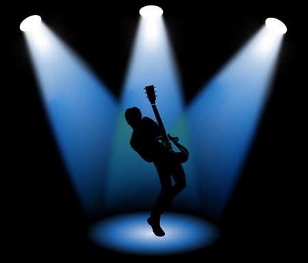 Guitarist on stage, vector illustration  イラスト・ベクター素材