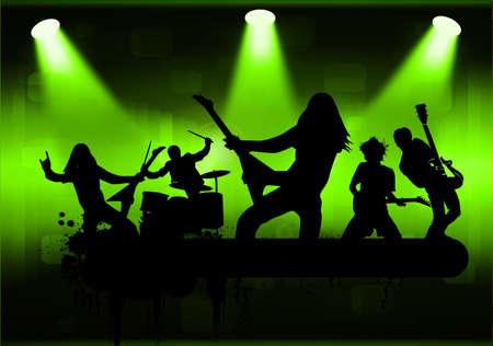 concierto de rock: La banda de rock, ilustración vectorial