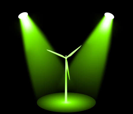 windpower: Windmill turbine in green lights, vector
