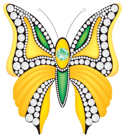 brooch: Vector brooch with diamonds Illustration