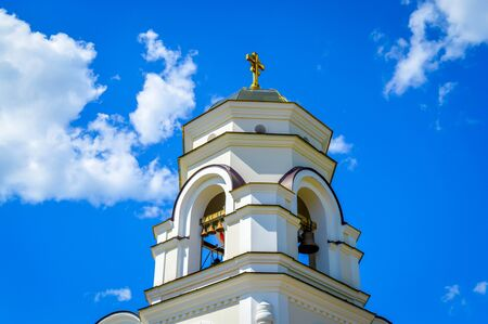 gold cross: Church with gold cross on top Moscow downtown
