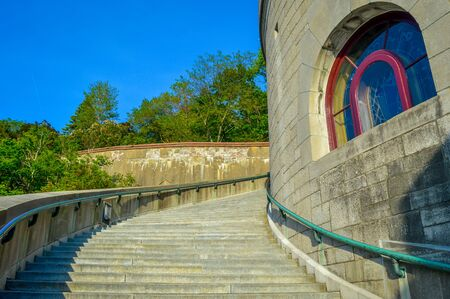 st  joseph: St Joseph Oratory stairs Side View Stock Photo