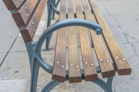old port: Wood bench in old port, Montreal, Canada