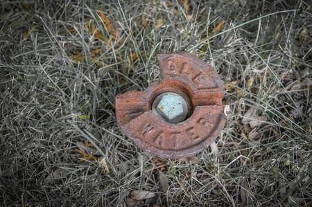 lawn sprinkler: Rusty water lawn sprinkler