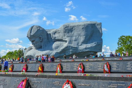 brest: Brest, Belarus - May 9, 2015: Graves of the fallen defenders in Brest fortress. Editorial