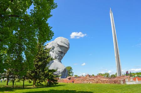 bayonet: Brest, Belarus - May 9, 2015: Main monument Brest Fortress - sculpture of Unknown soldier and hundred-meter bayonet obelisk, Belarus. Editorial