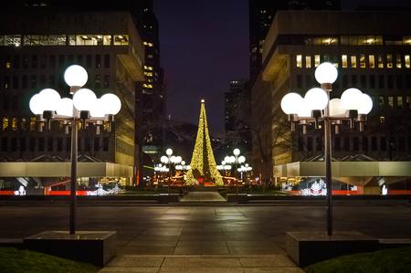 illuminated: Illuminated Christmas tree in Montreal Stock Photo