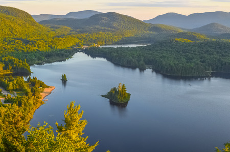 Lac Monroe in Mont-Tremblant national park in sunshine, Quebec, Canada